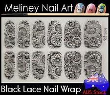 TZ070 Black Lace Nail Art Wraps Full Cover Stickers Flower Floral Transparent
