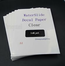 Water Slide Decal Paper A4 Clear Color Inkjet Transfer Craft DIY 1/5/10/20/50PCS