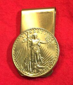 1923 Gold Brass St Saint Gaudens $20 Double Eagle Coin Money Clip + Gift Box!
