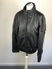 Mens Firetrap Black Faux Leather Biker Coat Zip Jacket - Size XL