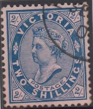 Stamp 2/- blue on red sideface Victoria cancelled to order, paper adhesion back