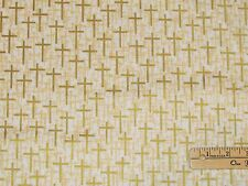 Faith Love Hope Gold Crosses on White Religious Fabric by the 1/2 Yard 39942M-1