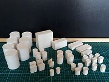 1/18 unpainted garage diorama accessories: barrels, tool chests, oil & paint can