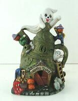 """Vintage Halloween Ceramic Haunted House Ghost Light CREEPY Tea Pot Village 7""""tal"""