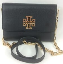 New Authentic Tory Burch Britten Chain Wallet Crossbody Bag, 48292 Black Leather