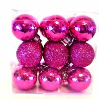 18 PINK SHATTER RESISTANT 1.5 IN PINK GLITTER CHRISTMAS ORNAMENT DECORATION