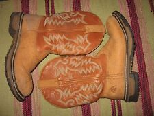 WOMENS 6.5 M ROCKY TAN BROWN LEATHER WESTERN ROPER COWBOY BOOTS