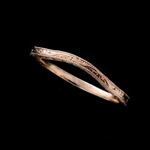 Vintage Style 14k Rose Gold Curved Thin Engraved Wedding Band