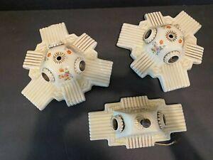 3 MCM Light Ceiling Fixtures Porcelier Ceramic Porcelain Floral Art Deco 1930's