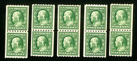 US Stamps # 390 XF OG NH Lot of 5 Vertical Pairs Catalog Value $110.00