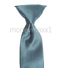 Mens Express Neck Tie Slim Skinny 100% Silk Blue Reversible Aqua Narrow 2.75 in.