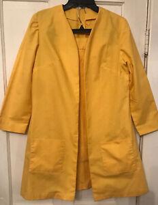 Vintage 1960's Handmade Sunflower Yellow 2 Pc Skirt Suit Women's M