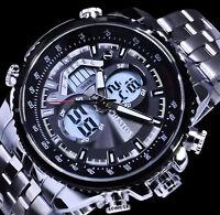 Chestox Analog Digital Herren Uhr Anthrazit Schwarz Silber Farben Blaues Licht