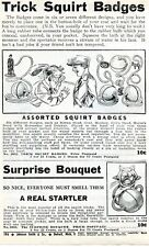 1940 small Print Ad of Trick Squirt Badges Charlie Chaplin, Surprise Bouquet