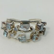 Patti Quinn Sterling Silver Handmade Glass Artisan Modern Cuff Bracelet