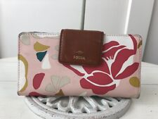 FOSSIL Pink Floral PVC & Cognac Mother's Day Leather Bifold Wallet Clutch HTF!