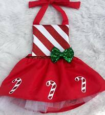 AU Kids Baby Girl Candy Cane Dress Romper Jumpsuit Christmas Clothes Outfits