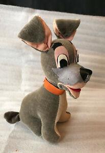 1950s Disneyland Disney Lady & The Tramp Plush Dog Made In Japan Vintage Wood