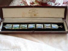 Vintage painted enamel pictures panel bracelet Lakes Entrance souvenir Vic Aust
