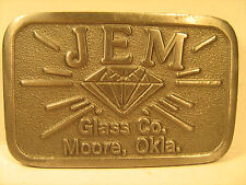 PEWTER Belt Buckle JEM GLASS CO. Moore, Okla. by HIT LINE [Y95s]