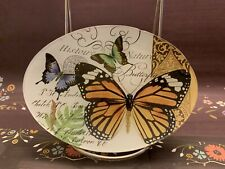 Michel Design Works Glass Oval Trinket Soap Dish Peony Botanical Butterfly