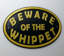 Whippet Beware Of The Dog Sign - Garden Sign Plaque - Black /Gold