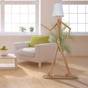HROOME Modern Contemporary Decorative Wooden Floor Lamp Light with Fold White