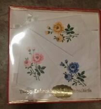 Vintage Pink Blue Yellow Floral Cotton Embroidery Handkerchiefs Free Shipping