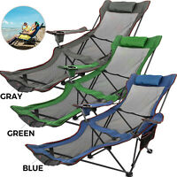 Green/Blue/Gray Reclining Folding Camp Chair W/ Footrest Camp Detachable Pillow