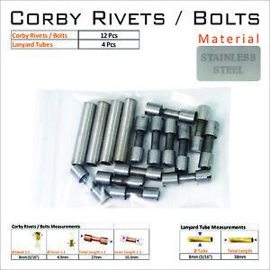 Knife Handle Hardware 12 Steel Corby Rivets 4 Lanyard Tubes Knife Making Supply