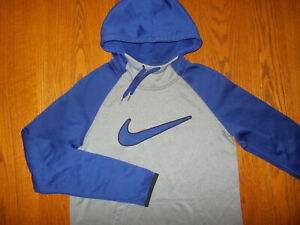 NIKE THERMA-FIT GRAY & BLUE HOODED SWEATSHIRT MENS SMALL EXCELLENT CONDITION
