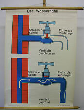 Beautiful Wall Art Teaching Plaque Poster Tap Plumber 70x96cm Vintage Map ~ 1960