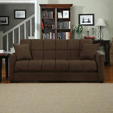 Couch Sofa Sleeper Brown Convertible Full Size Bed Furniture Futon Living Room