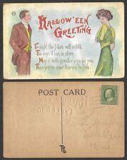 1909 Halloween Postcard - Man and Woman