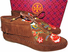 c0b307bc1ec7 Tory Burch Huntington Moccasin Ankle Moc Boots Fringed Loafers Booties 7  Boot