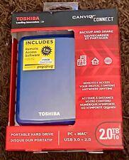 Toshiba Canvio Connect 2TB Portable External Hard Drive - Blue