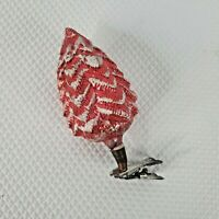 Vintage Tin Red Pine Cone Ornament Clip On