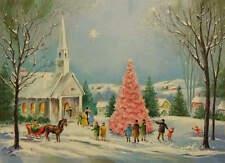 Christmas Church Pink Tree Horse Sleigh vintage art