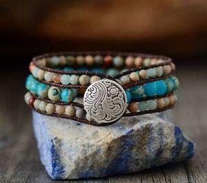 Cuff Bracelet Unique Jasper Leather Wrap Handmade Bohemian Weaving Stone Jewelry