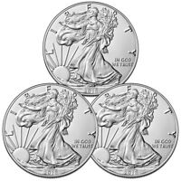 Lot of 3 Coins - 2018 American Silver Eagle $1 GEM BU Coin SKU51561