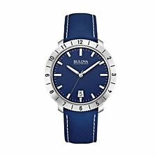 Bulova 96B204 Mens BA11 Blue Leather Strap Watch
