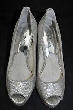 67296b012334 Michael Kors  York  Women s Silver Glitter Fabric Peep-Toe Platform ...