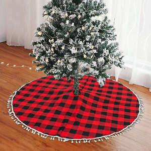 Tree Skirt Christmas Buffalo Plaid Tree Skirt Xmas Tree Skirts Mat with Tassel