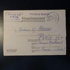 LETTRE PRISONNIER DE GUERRE STALAG II D 26.09.42 KRIEGSGEFANGENENPOST POW