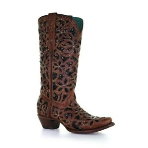 Corral Ladies Tan & Black Inlay, Embroidery & Stud Boots A4083