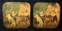 CLOWS JESTERS THEATRICAL SWORDFIGHT Antique COLOUR TISSUE Victorian Stereoview