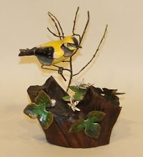 Vintage Brumm Enamel on Copper Driftwood Sculpture Gold Finch with Hepatica