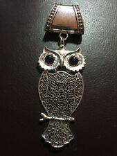 Stunning Large Silver Owl Scarf Pendant