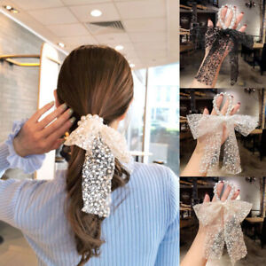 Women Lace Pearl Hair Rope Elegant Bow Knot Hair Tie Rubber Band Ribbon Headwear