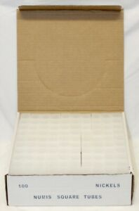 100 Numis Square Coin Tubes / Nickels / 1 Case / Meghrig Coin & Stamp Supplies